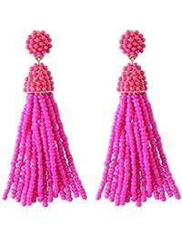 Women's Beaded tassel earrings Long Fringe Drop Earrings Dangle 6 Colors