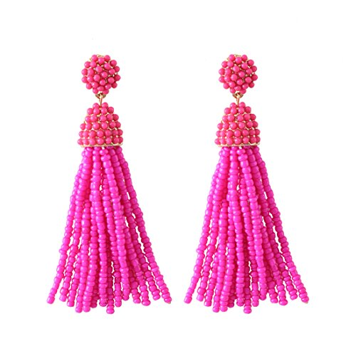 NLCAC Women's Beaded tassel earrings Long Fringe Drop Earrings Dangle Fuchsia -