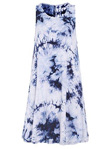 Womens Juniors Tie Dye - Romwe Women's Tie Dye Sleeveless Casual Loose T-Shirt Dress Swing Tunic Top Navy L