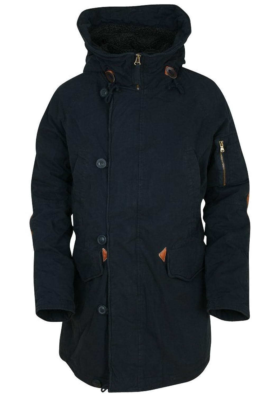 ililily Winter Long Padded Safari Jacket Faux Leather Elbow Patch Hood Coat