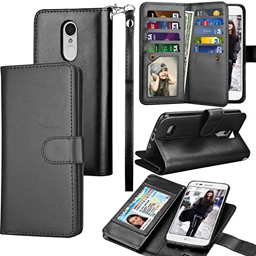 Tekcoo Compatible for LG Fortune/Phoenix 3 / LG Aristo/Risio 2 / LG Rebel 2 LTE / LV3 Wallet Case, Credit Card Slots Carrying PU Leather Folio Flip Cover [Detachable Magnetic Case] Stand -Black (Lg Phone Case Leather Access)