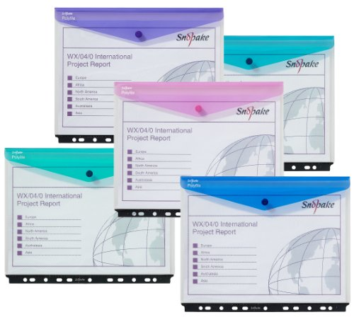 Amazon.com : Snopake 15694 Polyfile A4 High Capacity Ring Binder Popper Wallet Landscape Classic Clear with Electra Assorted Colour Closures (Pack of 5) ...