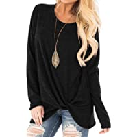 Women's Long Sleeve Tunic Tops Shirt Blouse Round Neck Knot Side Twist Knit Soft Sweatshirt Plain Stylish, Fashion Loose Dew Shoulder Sling Casual Solid Color Chic Asymmetrical Twist Hem T-Shirt