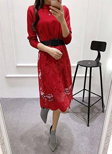 Delle A Maglia Maniche Midi Pizzo Lunghe Donne Drasawee A Vestito Pullover Casuale Maglione Rosso UAqqw