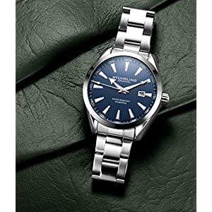 Stuhrling Original – Reloj analógico con Fecha, Correa de Piel de Becerro o Pulsera de Acero Inoxidable, colección 3953 Relojes para Hombre