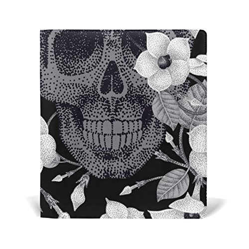 New AURELIOR Flowers And Skulls Pattern Stretchable PU Leather Book Cover 9 x 11 Inches Fits for School Hardcover Textbooks