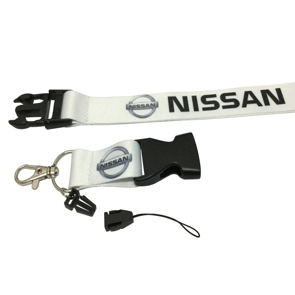 Coloryard 1pcs White Color USA Ship New Quick Release Neck Strap Lanyard Keychain Keyring Car Keys House Keys ID Badges Card For Nissan Design