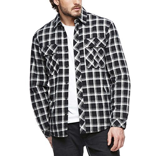 - Boston Traders Mens Sherpa Lined Flannel Shirt (L, Black)
