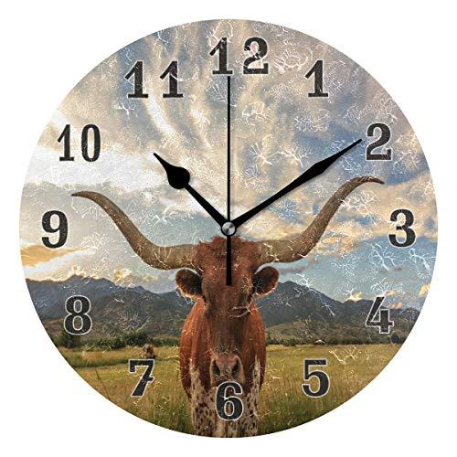 Linomo Vintage Texas Longhorn Steer Cattle Wall Clock Decor, Silent Non Ticking Round Clock Quiet for Kitchen Living Room Bedroom Bathroom Office ()