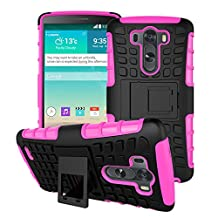 LG G3 Case, SsHhUu Tough Heavy Duty Shock Proof Defender Cover Dual Layer Armor Combo Protective Hard Case Cover for LG G3 D855 D852 5.5 Inch (Pink)
