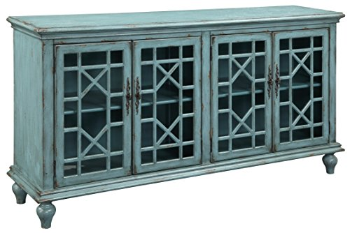 Cheap Treasure Trove Accents 17430 Four Door Media Credenza, Bayberry Blue Rub-through/17430