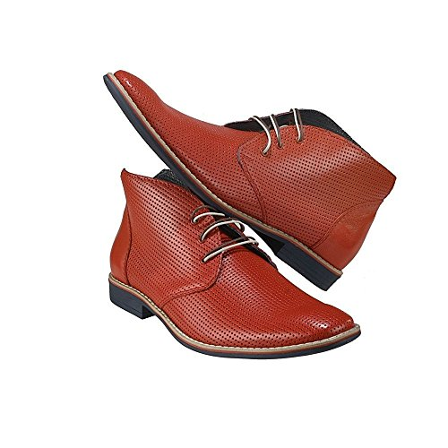 Handmade PeppeShoes Cowhide Italian Chukka Mens Modello Embossed Boots Leather Leather Lace Lecce Up Ankle Red rEqvUwr