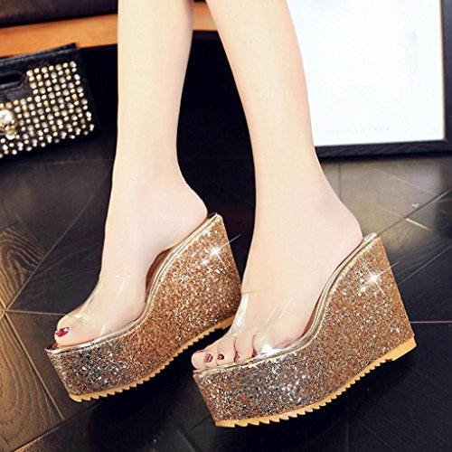 Ouneed ® Mujeres moda imitación ocio Flip Flops sandalias mocasines zapatos Oro