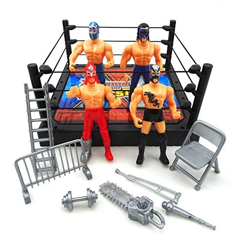 LilPals Extreme Wrestling Toy Set - Includes 50+ Square Inch Wrestling Ring, Poles, Ropes, 4 Movable Action Figures & Miscellaneous Wrestling Accessories (Ladder, Chainsaw, Dumbbell, etc.)