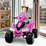 Kidzone 12V Kids Battery Powered Electric 4-Wheeler Quad Toddler Ride-On ATV w/ 2 Speeds LED Lights Treaded Tires, Pink