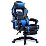 Merax Racing Office Desk Chair Gaming Ergonomic Chair with Footrest and Adjustable Armrests Home Office Computer Computer Chair (Blue)