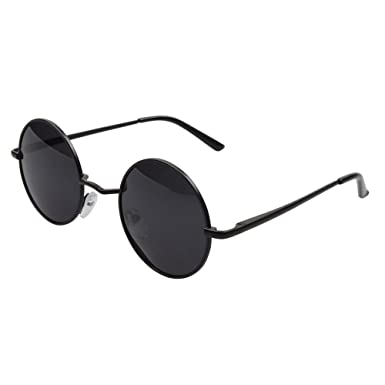 9799e66d27 Aoron Lennon Style Vintage Round Sunglasses with Polarized Lenses for Retro  Women and Men Color Black