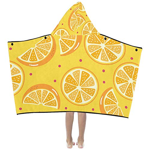 Fresh Fruit Delicious Orange Slice Soft Warm Cotton Blended Kids Dress Up Hooded Wearable Blanket Bath Towels Throw Wrap for Toddlers Child Girls Boys Size Home Travel Picnic Sleep Gifts Beach