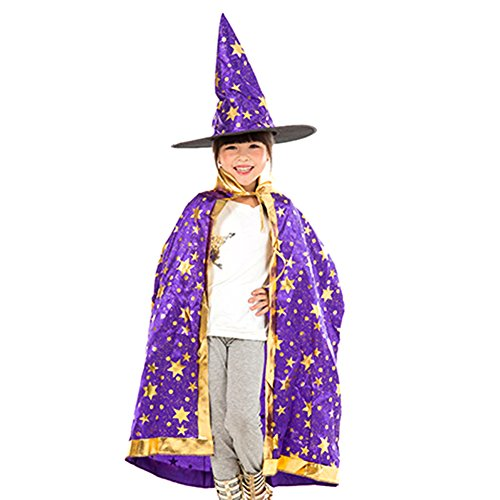 [Love_BAY Halloween Prop COS Witch Collar Cloak Hat and Cloak Cape Party Costume For kids (Purple)] (Adult Purple Wizard Costumes)