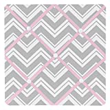 Sweet Jojo Designs Pink and Gray Chevron Zig Zag Fabric Memory/Memo Photo Bulletin Board
