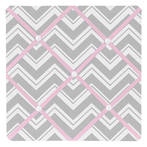 Sweet Jojo Designs Pink and Gray Chevron Zig Zag Fabric Memory/Memo Photo Bulletin Board by Sweet Jojo Designs