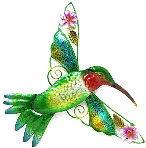 Bejeweled Display Hummingbird w/ Glass Wall Art Plaque & Home Decor - Wall Art Moon Face
