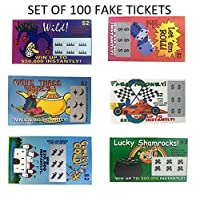 Billetes de lotería falsos-100- Todos los ganadores falsos-Gran regalo de broma de 6 Designs That Look Real Wholesale Bulk Pack