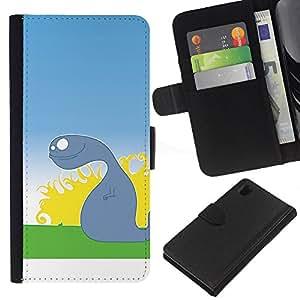 LECELL--Cuero de la tarjeta la carpeta del tirón Smartphone Slots Protección Holder For Sony Xperia Z1 L39 -- Mudanza Ghost --