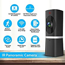 Wireless Security Camera 720P HD, Takihoo Indoor IP Surveillance Camera Home Baby Pet Monitor with 2-Way Audio, Night Vision, 180 Wide Angle Fisheye, P2P Remote Viewing IR Camera Panorama, Black