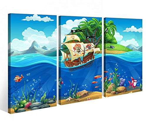 Leinwandbild 3 Tlg. Kinderzimmer Pirat Schiff Schatzkarte Meer Leinwand Bild Bilder Holz fertig gerahmt 9R047, 3 tlg BxH:90x60cm (3Stk 30x 60cm)