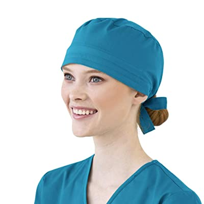 Ghazzi Unisex Scrub Cap Cotton Bandage Button Adjustable Nursing Scrub Cap Beauty Work Hat Surgical Bouffant Dustproof at Women's Clothing store