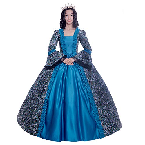 (Colonial Georgian Penny Dreadful Victorian Dress Gothic Period Ball Gown Reenactment Theater Costumes (M,)