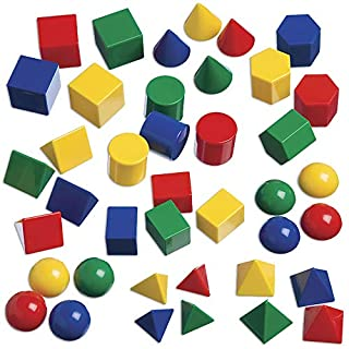 Edx Education Mini Geometric Solids - In Home Learning Toy for Early Math & Geometry - Set of 40 - Multicolored 3D Shapes - Math Manipulative For Kids