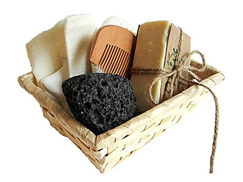 O'LIVE SPA BATH GIFT BASKET - DELUXE SET WITH NATURAL BATHING ACCESSORIES-Body scrub exfoliate silk fabric glove, Natural olive oil bar soap, wooden comb, loofah facial, natural volcanic pumice stone