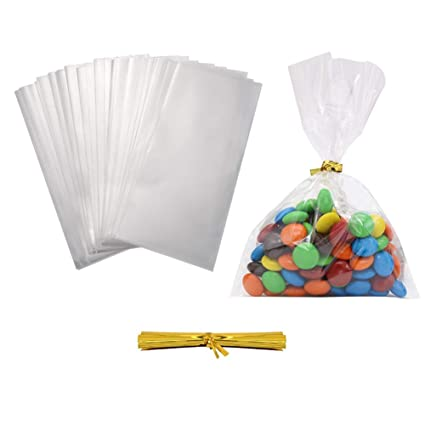 b95094b677d3c HRX Package 300 Pack Treat Bags, 4 by 6 inch 1.4 Mil Clear OPP Bags with  350pcs Twist Ties for Bakery, Cookies, Candies,Dessert
