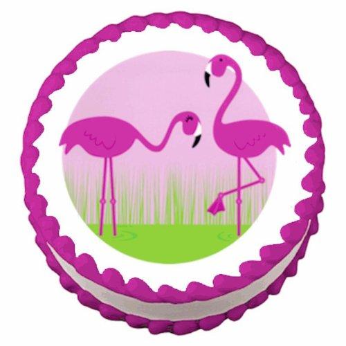 2-Round-Pink-Flamingos-Edible-CakeCupcake-Topper
