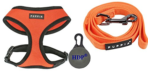 Puppia Dog Soft Mesh Harness and a Leash COMBO Color:Orange Size:Medium
