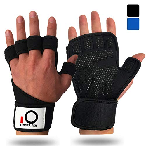 Weight Lifting Gloves Men Women with Wrist Support Straps, Extra Grip Padded Palm Gel Non-Slip for Wodies Crossfit Gym Workout Cross Training Fitness, Compression Fit Full Protection (Black, S)