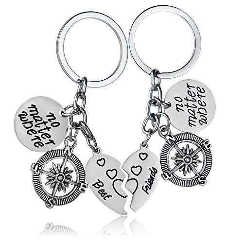YeeQin 3PCS We Will Always Be Connected Keychain Set, Necklace Set, Best Friends Jewelry, Gift for Sisters (No Matter Where Friends Keychain Set) (Long Distance Guy Best Friend)