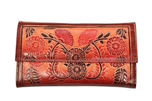 Zint Genuine Leather Handmade Floral Design Women's Indian Shantiniketan Clutch Wallet (Handmade Handbag Indian Accent)