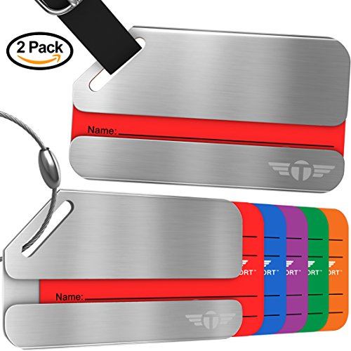 Two Privacy Luggage Tags Stainless Steel Metal ID Bag Tag With Lifetime Never Lost (Metal Luggage Tag)