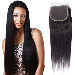 Brazilian Straight Closure 4x4 Free Part 100% Unprocessed Virgin Human Hair 12 Inch Closure Natural Black Color