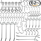 Navseek 7533H Pegboard Hooks and Organizer Assortment - 62Pcs Peg Hook Organization