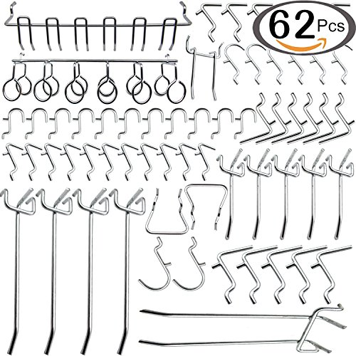 Navseek 7533H Pegboard Hooks and Organizer Assortment - 62Pcs Peg Hook Organization by Navseek