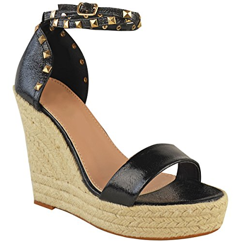 Fashion Thirsty Womens Ladies Studded Esapdrille Wedges High Heel Sandals Summer Platforms Size Black Faux Leather