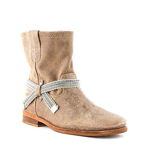 Felmini - Zapatos para Mujer - Enamorarse com Garbo 8296 - Botas Cowboy & Biker - Cuero Genuino - Marrón claro - 0 EU Size Marrón claro