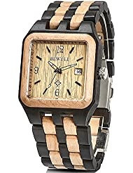 Bewell W111A Mens Square Multicolor Wood Watches Quartz Analog Movement Date Wristwatch