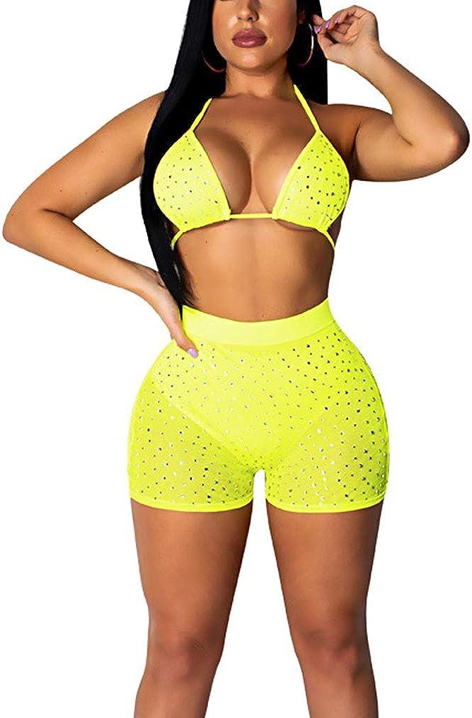 Women Mesh Sheer Bikini Set Sparkle Swimsuit Beach Bathing Suit Bra Top Lingerie