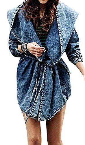 US&R Women's Short Washed Hooded Denim Outerwear Trench Coat Fashion (Belted Denim Coat)