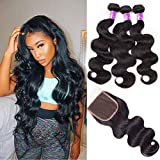 Ugrace Hair Bundles with Closure Body Wave Brazilian Virgin Hair with Lace Closure with Baby Hair Soft and Bouncy Human Hair with Closure 18 20 22+18 Inch Free Part